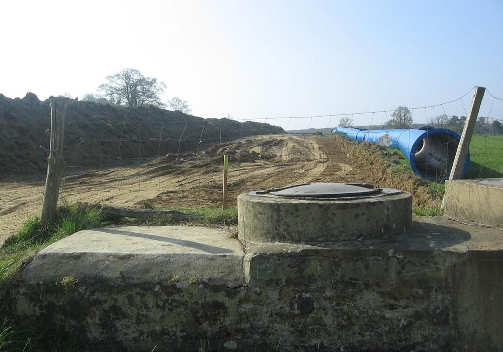 construction du nouvel aqueduc de la Minette