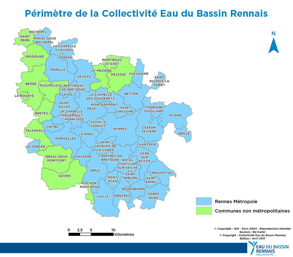 Périmètre de la Collectivité Eau du Bassin Rennais