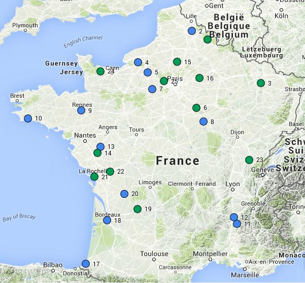 Carte des sites pilotes du réseau Eau et Bio