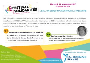 Rendez-vous mercredi 22 novembre à Rennes pour une soirée sur l'eau en Palestine